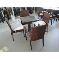 Complete set of table rattan chairs